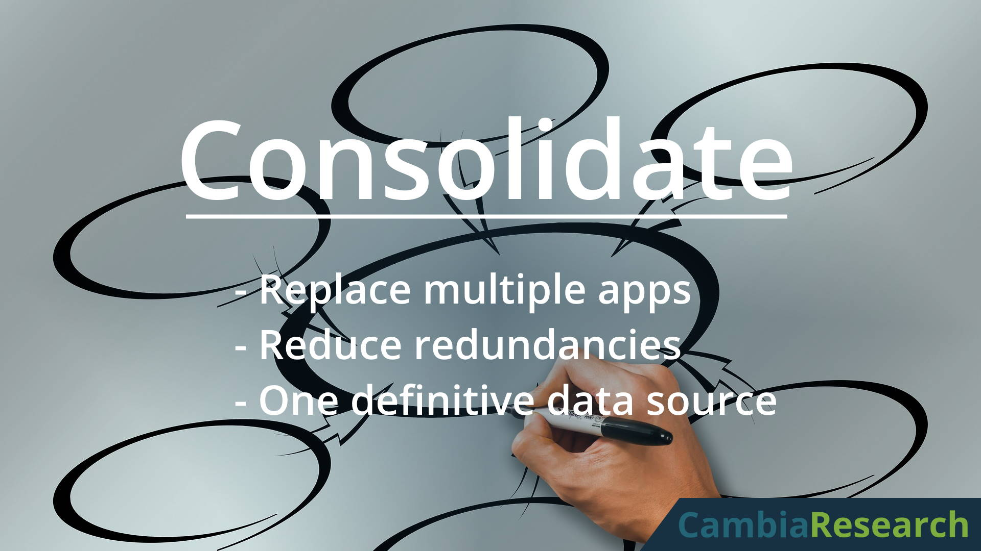 Consolidate existing systems and software with custom software solutions.